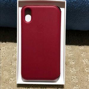 Accessories - iPhone X leather folio berry